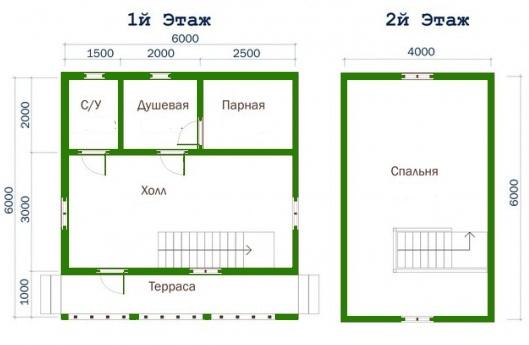 Баня с мансардой, проекты сруба 6x6, 6x4, 5x5, 5x4, 6x8 | Все о бане