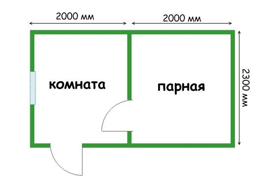 проект каркасной бани 4 на 2,3