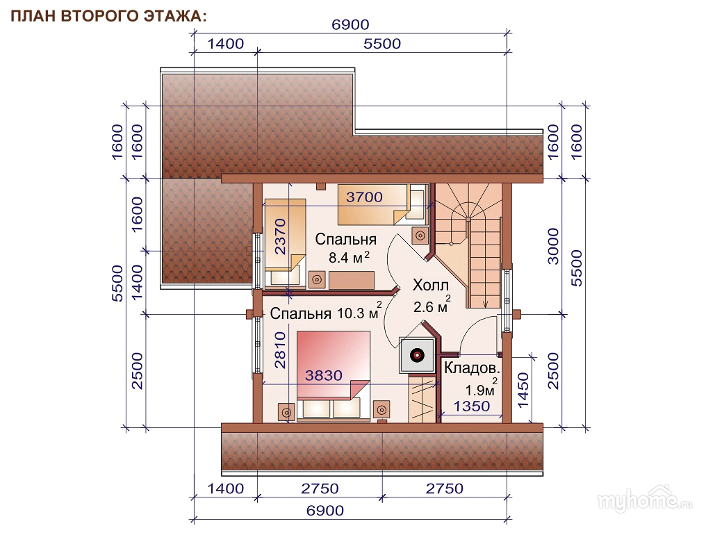 Схема бани двухэтажной